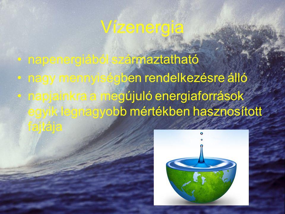 Vízenergia napenergiából származtatható nagy mennyiségben rendelkezésre álló napjainkra a megújuló energiaforrások egyik legnagyobb mértékben hasznosí