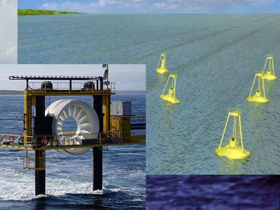 Hullámerőmű –A tenger hullámzásának energiáját hasznosítja Árapály erőmű –Az apály és dagály közötti vízszintkülönbséget használja ki