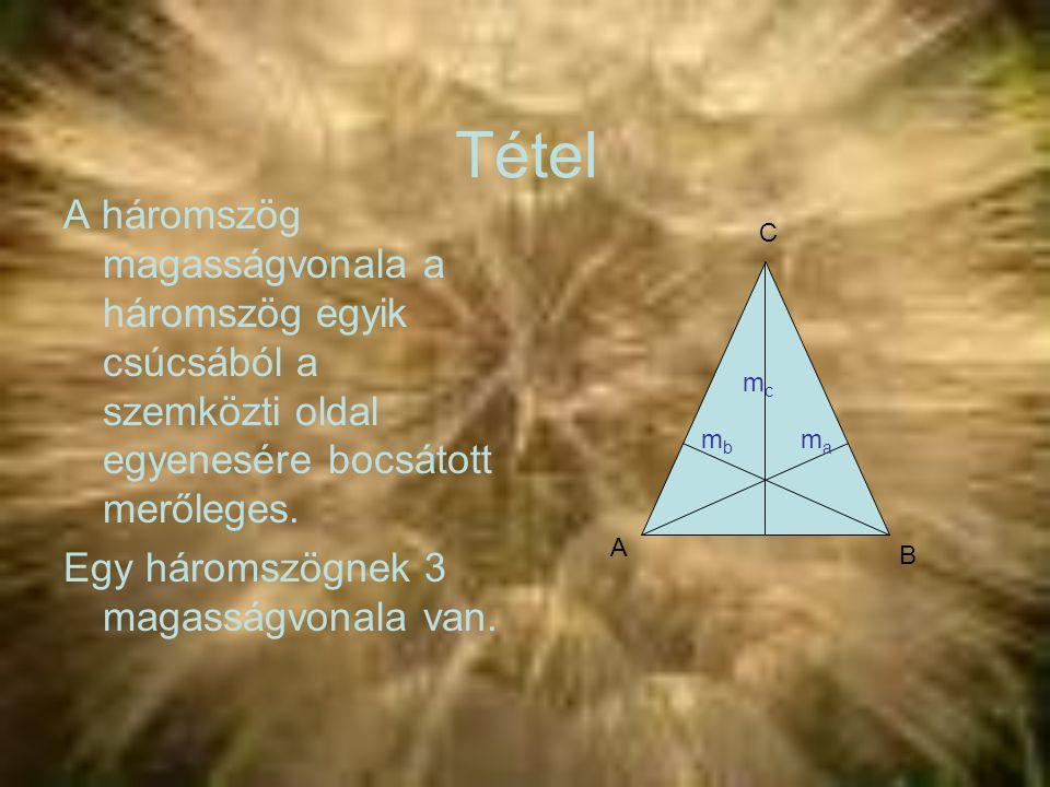 Tétel A háromszög magasságvonala a háromszög egyik csúcsából a szemközti oldal egyenesére bocsátott merőleges. Egy háromszögnek 3 magasságvonala van.