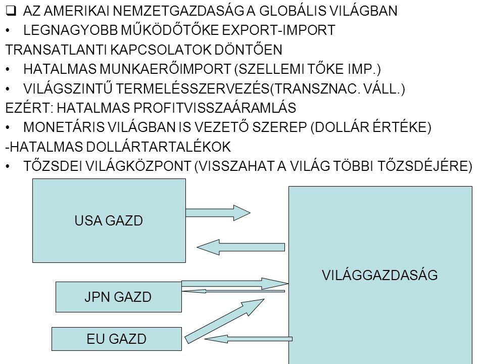  AZ AMERIKAI NEMZETGAZDASÁG A GLOBÁLIS VILÁGBAN LEGNAGYOBB MŰKÖDŐTŐKE EXPORT-IMPORT TRANSATLANTI KAPCSOLATOK DÖNTŐEN HATALMAS MUNKAERŐIMPORT (SZELLEMI TŐKE IMP.) VILÁGSZINTŰ TERMELÉSSZERVEZÉS(TRANSZNAC.