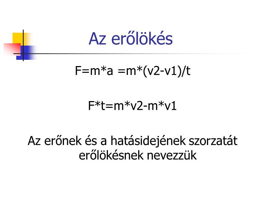 Az erőlökés F=m*a =m*(v2-v1)/t F*t=m*v2-m*v1 Az erőnek és a hatásidejének szorzatát erőlökésnek nevezzük