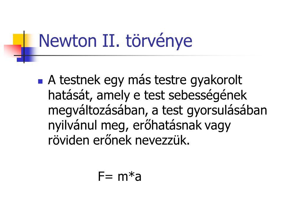 Newton II. törvénye A testnek egy más testre gyakorolt hatását, amely e test sebességének megváltozásában, a test gyorsulásában nyilvánul meg, erőhatá