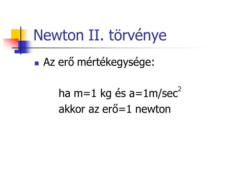Newton II. törvénye Az erő mértékegysége: ha m=1 kg és a=1m/sec 2 akkor az erő=1 newton
