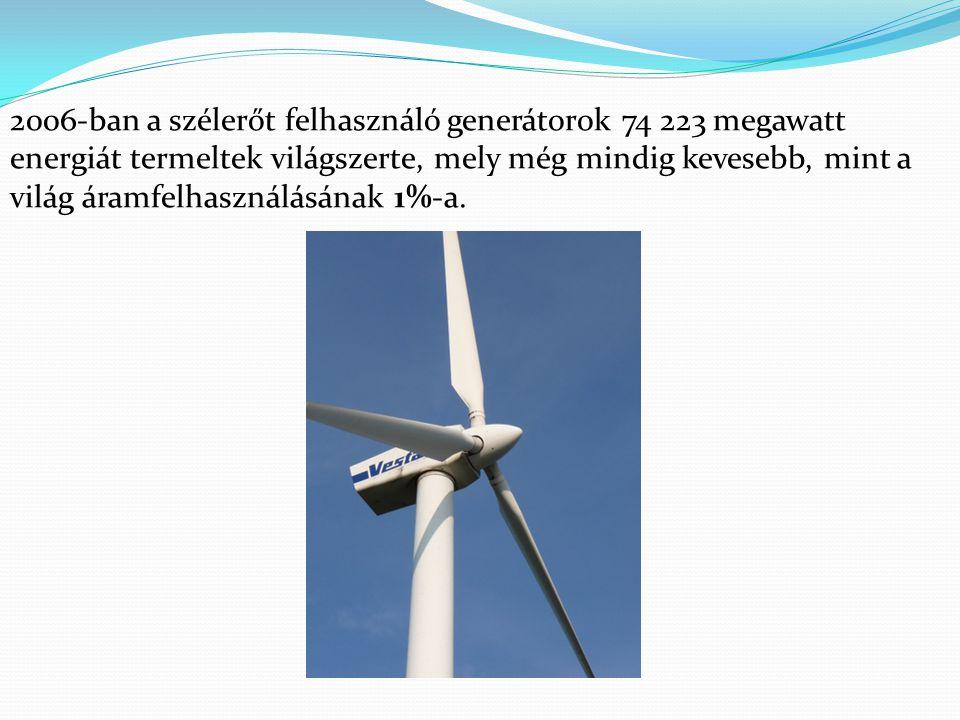2006-ban a szélerőt felhasználó generátorok 74 223 megawatt energiát termeltek világszerte, mely még mindig kevesebb, mint a világ áramfelhasználásának 1%-a.