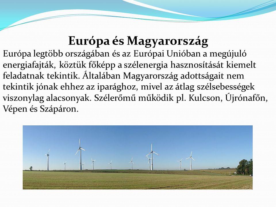 Európa és Magyarország Európa legtöbb országában és az Európai Unióban a megújuló energiafajták, köztük főképp a szélenergia hasznosítását kiemelt feladatnak tekintik.