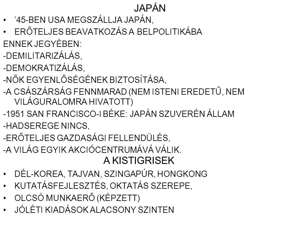 JAPÁN '45-BEN USA MEGSZÁLLJA JAPÁN, ERŐTELJES BEAVATKOZÁS A BELPOLITIKÁBA ENNEK JEGYÉBEN: -DEMILITARIZÁLÁS, -DEMOKRATIZÁLÁS, -NŐK EGYENLŐSÉGÉNEK BIZTO