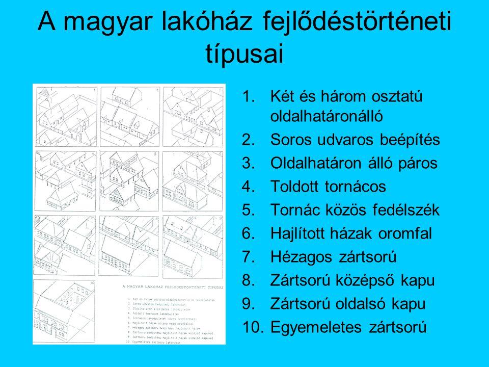 A magyar lakóház fejlődéstörténeti típusai 1.Két és három osztatú oldalhatáronálló 2.Soros udvaros beépítés 3.Oldalhatáron álló páros 4.Toldott tornác