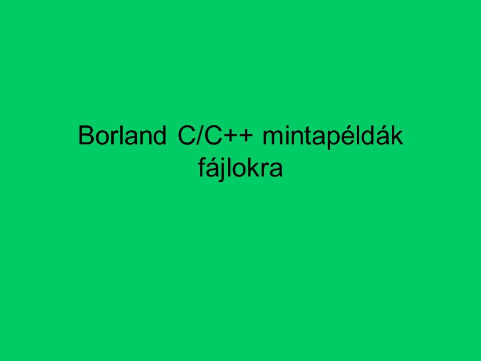 Borland C/C++ mintapéldák fájlokra