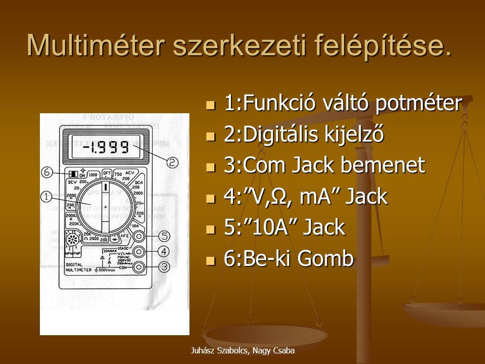 Juhász Szabolcs, Nagy Csaba Multiméter szerkezeti felépítése. 1:Funkció váltó potméter 1:Funkció váltó potméter 2:Digitális kijelző 2:Digitális kijelz