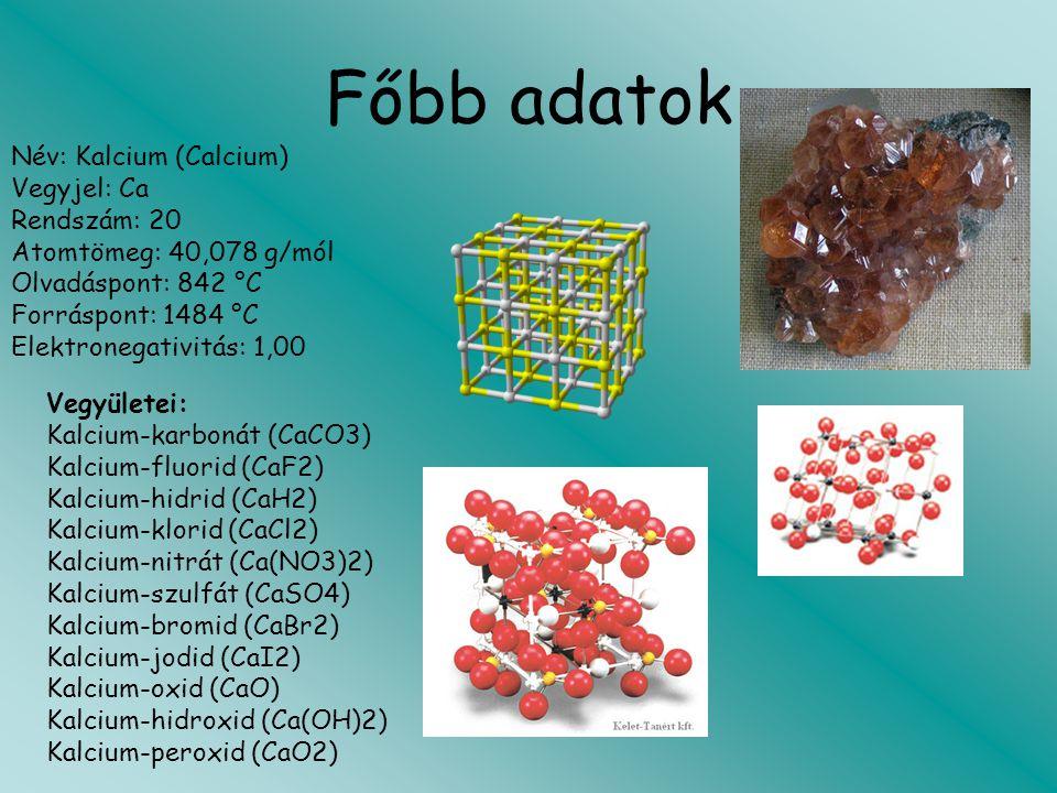 Főbb adatok Név: Kalcium (Calcium) Vegyjel: Ca Rendszám: 20 Atomtömeg: 40,078 g/mól Olvadáspont: 842 °C Forráspont: 1484 °C Elektronegativitás: 1,00 V
