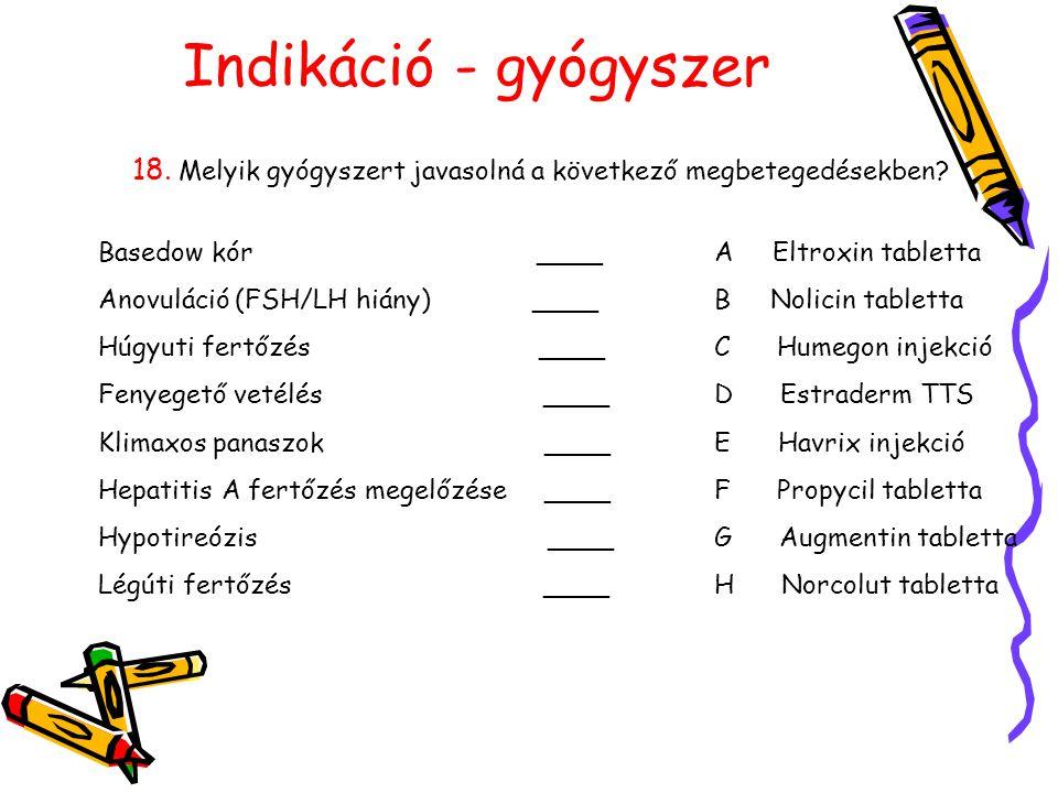Indikáció - gyógyszer 18. Melyik gyógyszert javasolná a következő megbetegedésekben? Basedow kór ____ Anovuláció (FSH/LH hiány) ____ Húgyuti fertőzés