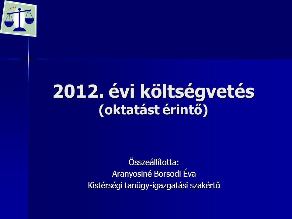 2012. évi költségvetés (oktatást érintő) Összeállította: Aranyosiné Borsodi Éva Kistérségi tanügy-igazgatási szakértő