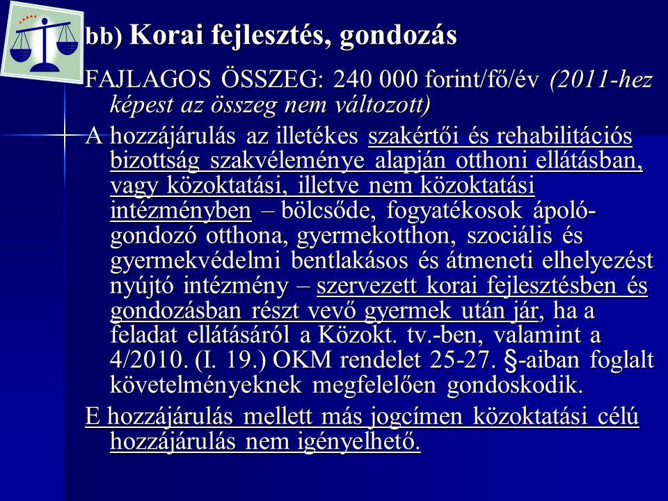 bb) Korai fejlesztés, gondozás FAJLAGOS ÖSSZEG: 240 000 forint/fő/év (2011-hez képest az összeg nem változott) A hozzájárulás az illetékes szakértői é