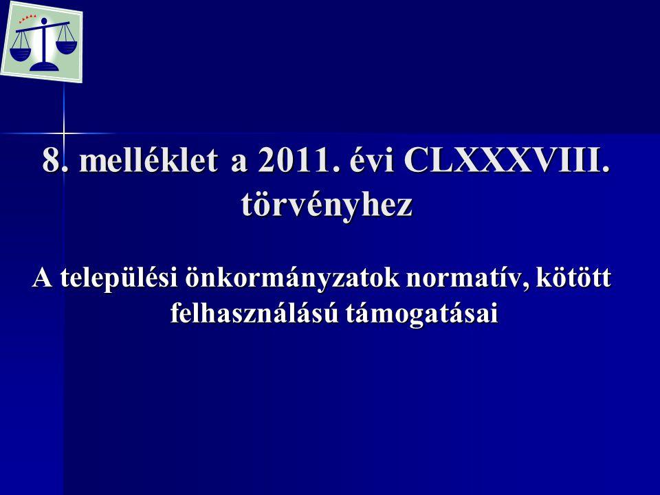 8. melléklet a 2011. évi CLXXXVIII. törvényhez A települési önkormányzatok normatív, kötött felhasználású támogatásai