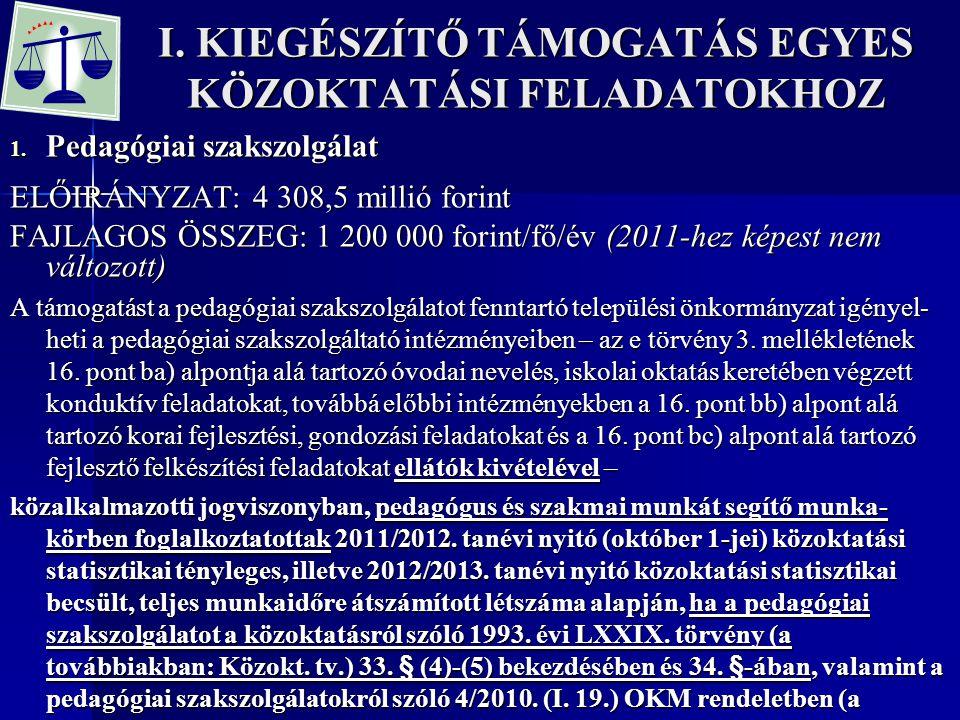 I. KIEGÉSZÍTŐ TÁMOGATÁS EGYES KÖZOKTATÁSI FELADATOKHOZ 1. Pedagógiai szakszolgálat ELŐIRÁNYZAT: 4 308,5 millió forint FAJLAGOS ÖSSZEG: 1 200 000 forin