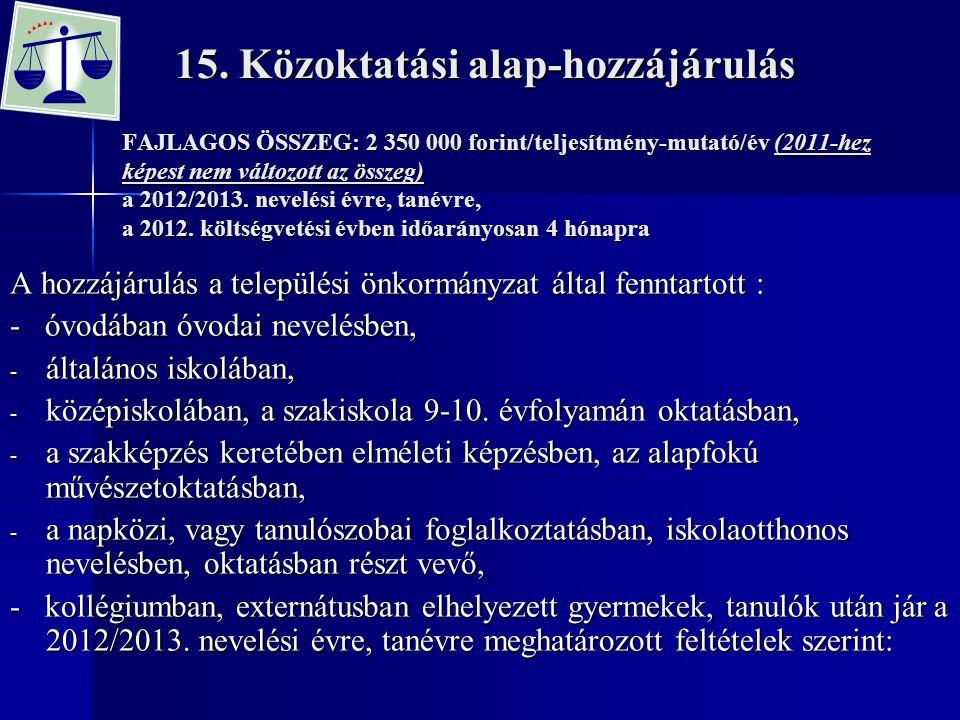 15. Közoktatási alap-hozzájárulás FAJLAGOS ÖSSZEG: 2 350 000 forint/teljesítmény-mutató/év (2011-hez képest nem változott az összeg) a 2012/2013. neve