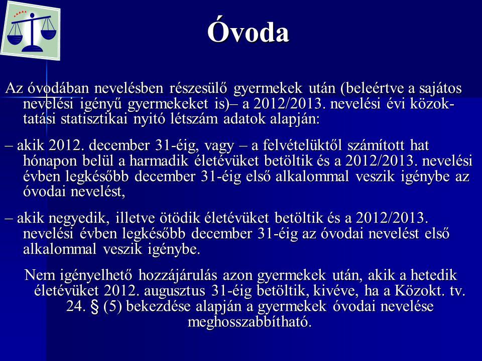 Az óvodában nevelésben részesülő gyermekek után (beleértve a sajátos nevelési igényű gyermekeket is)– a 2012/2013.