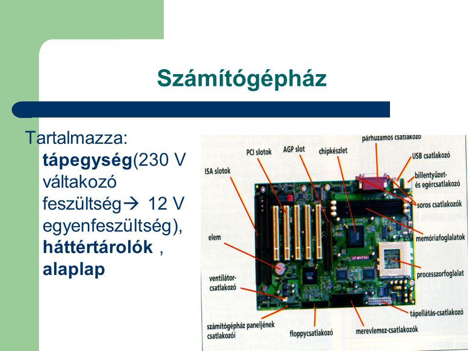 Számítógépház Tartalmazza: tápegység(230 V váltakozó feszültség  12 V egyenfeszültség), háttértárolók, alaplap