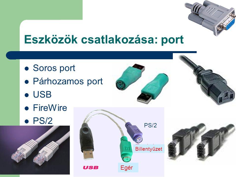 Eszközök csatlakozása: port Soros port Párhozamos port USB FireWire PS/2 Egér Billentyűzet PS/2