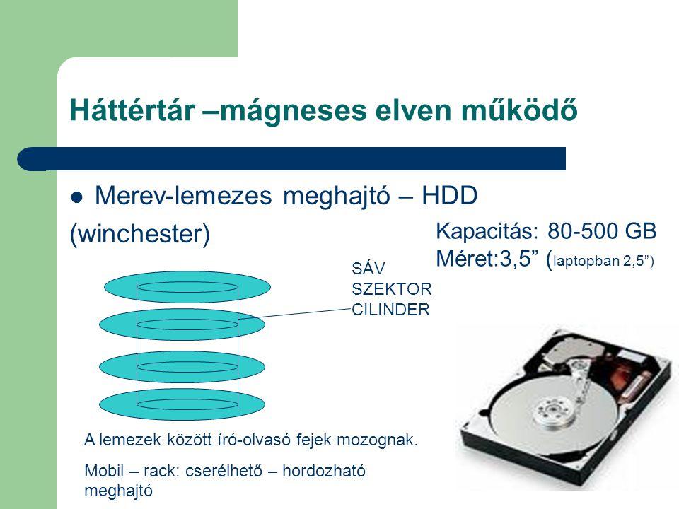 Háttértár –mágneses elven működő Merev-lemezes meghajtó – HDD (winchester) SÁV SZEKTOR CILINDER A lemezek között író-olvasó fejek mozognak. Mobil – ra
