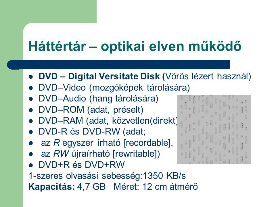 Háttértár – optikai elven működő DVD – Digital Versitate Disk (Vörös lézert használ) DVD–Video (mozgóképek tárolására) DVD–Audio (hang tárolására) DVD