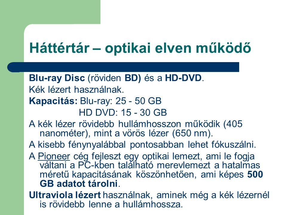 Háttértár – optikai elven működő Blu-ray Disc (röviden BD) és a HD-DVD. Kék lézert használnak. Kapacitás: Blu-ray: 25 - 50 GB HD DVD: 15 - 30 GB A kék