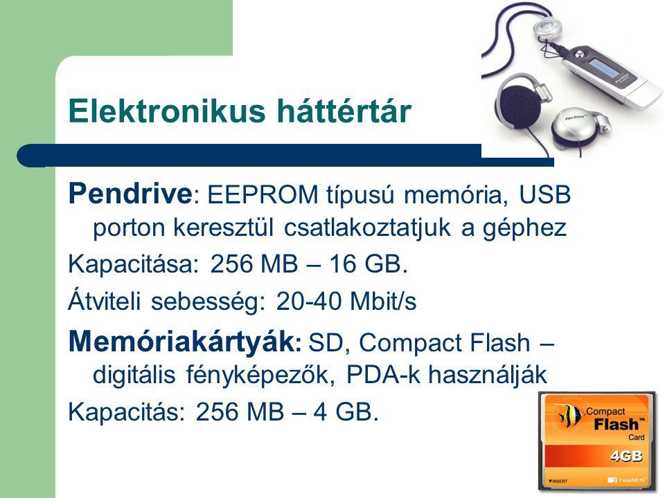 Elektronikus háttértár Pendrive : EEPROM típusú memória, USB porton keresztül csatlakoztatjuk a géphez Kapacitása: 256 MB – 16 GB. Átviteli sebesség: