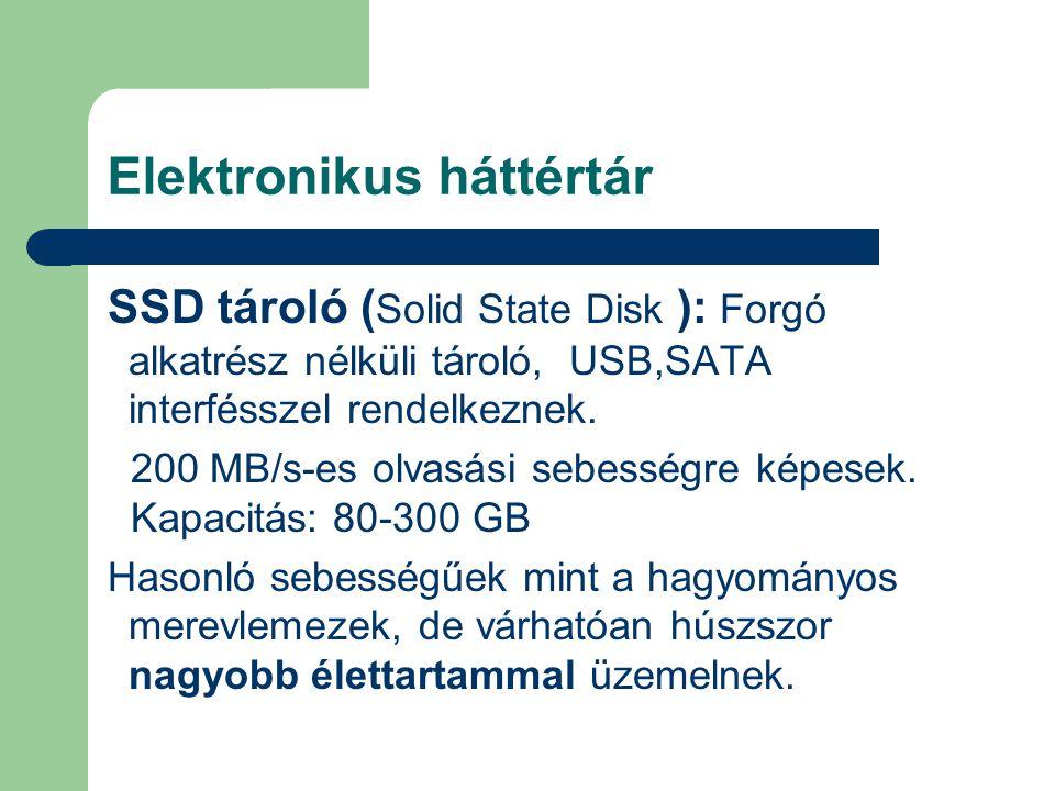 Elektronikus háttértár SSD tároló ( Solid State Disk ): Forgó alkatrész nélküli tároló, USB,SATA interfésszel rendelkeznek. 200 MB/s-es olvasási sebes
