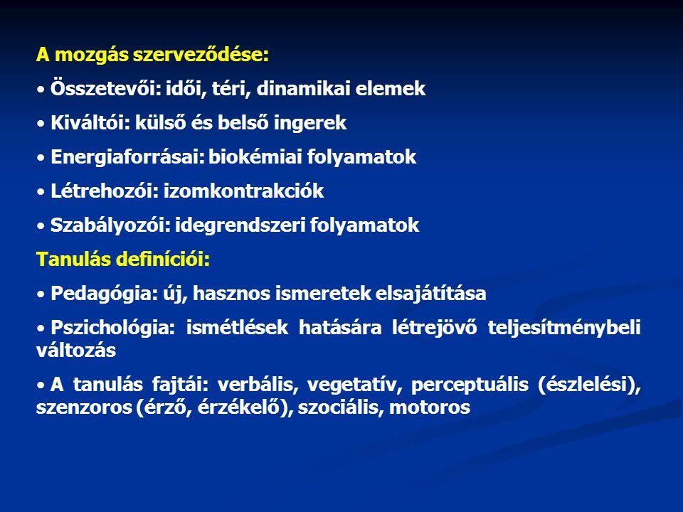 A mozgás szerveződése: Összetevői: idői, téri, dinamikai elemek Kiváltói: külső és belső ingerek Energiaforrásai: biokémiai folyamatok Létrehozói: izo