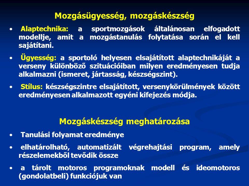 Mozgásügyesség, mozgáskészség Alaptechnika: a sportmozgások általánosan elfogadott modellje, amit a mozgástanulás folytatása során el kell sajátítani.
