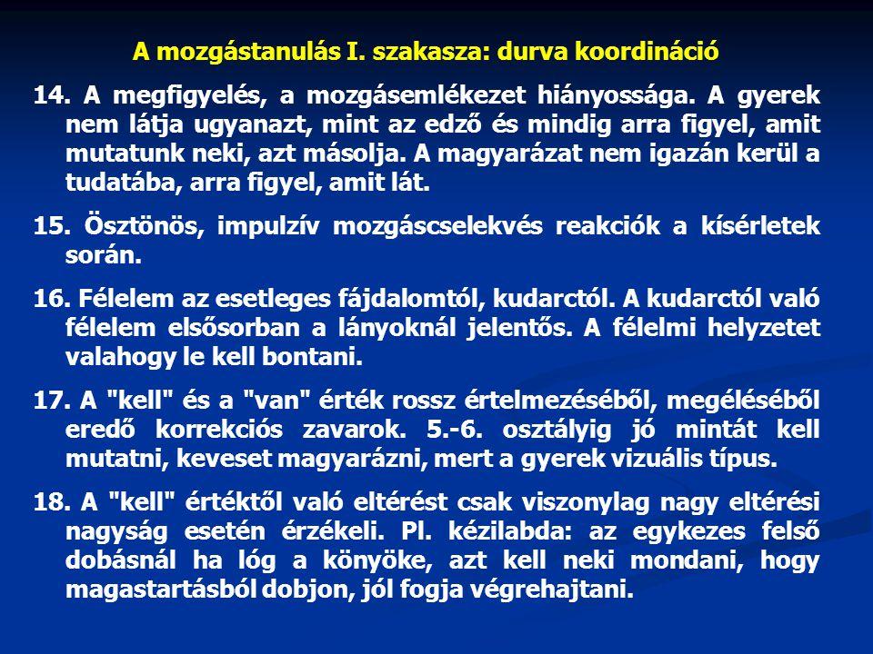 A mozgástanulás I. szakasza: durva koordináció 14. A megfigyelés, a mozgásemlékezet hiányossága. A gyerek nem látja ugyanazt, mint az edző és mindig a