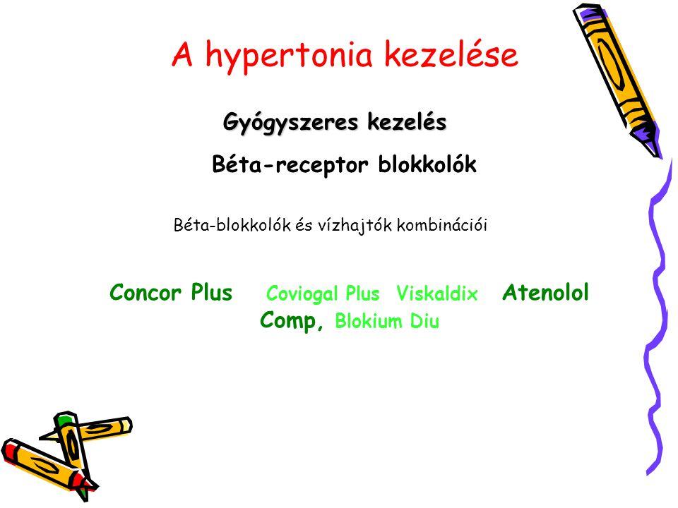 A hypertonia kezelése Gyógyszeres kezelés Béta-receptor blokkolók Béta-blokkolók és vízhajtók kombinációi Concor Plus Coviogal Plus Viskaldix Atenolol