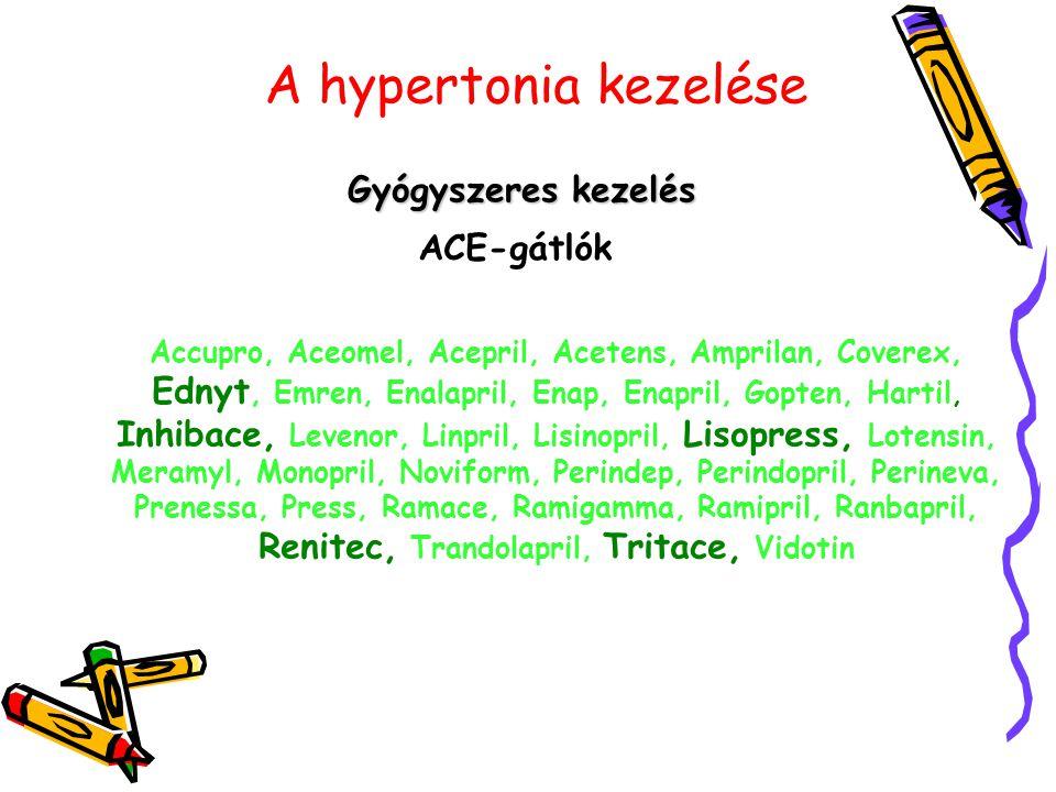A hypertonia kezelése Gyógyszeres kezelés ACE-gátlók Accupro, Aceomel, Acepril, Acetens, Amprilan, Coverex, Ednyt, Emren, Enalapril, Enap, Enapril, Go