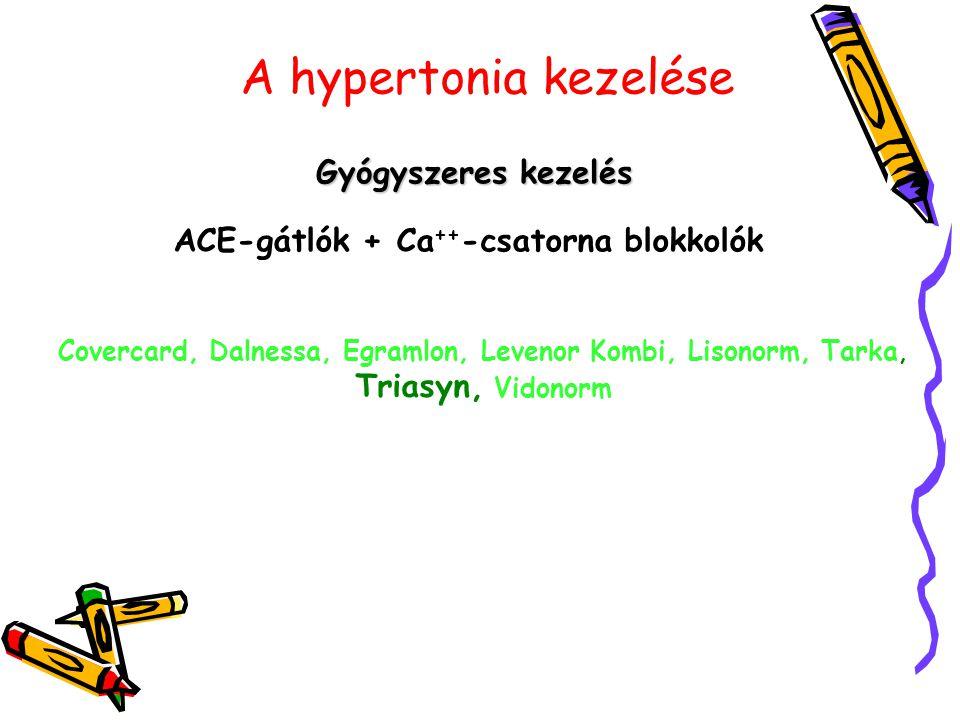 A hypertonia kezelése Gyógyszeres kezelés ACE-gátlók + Ca ++ -csatorna blokkolók Covercard, Dalnessa, Egramlon, Levenor Kombi, Lisonorm, Tarka, Triasy