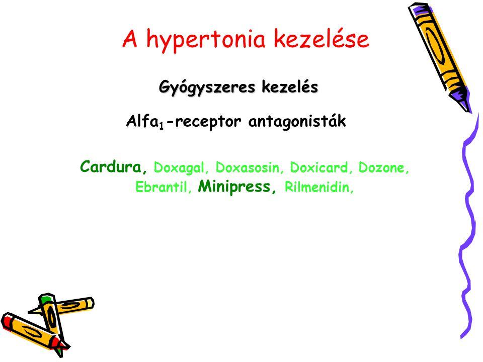 A hypertonia kezelése Gyógyszeres kezelés Alfa 1 -receptor antagonisták Cardura, Doxagal, Doxasosin, Doxicard, Dozone, Ebrantil, Minipress, Rilmenidin