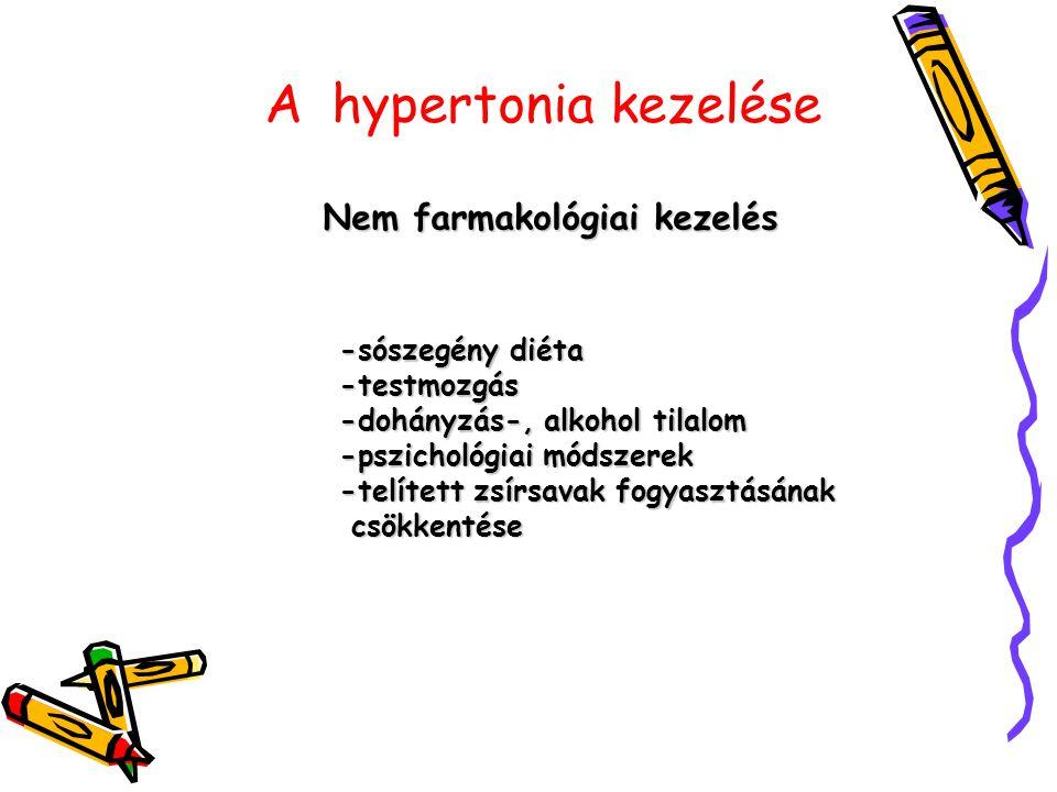 A hypertonia kezelése Gyógyszeres kezelés első vonalbeli szerek második vonalbeli szerek - centrálisan ható szerek - direkt értágítók új tipusú szerek -angiotenzin II receptor antagonisták - diuretikumok - Béta receptor gátlók - Kalcium antagonisták - ACE gátlók - a 1 antagonistá k A keringő vér mennyiségének csökkentése Értágítás