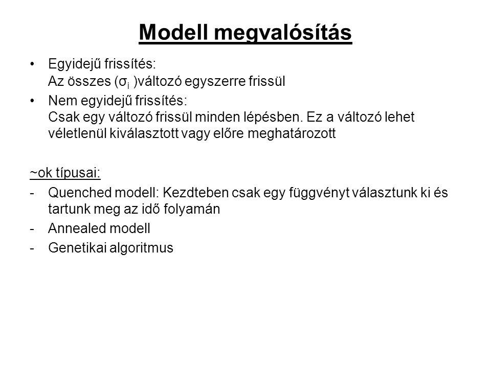 Modell megvalósítás Egyidejű frissítés: Az összes (σ i )változó egyszerre frissül Nem egyidejű frissítés: Csak egy változó frissül minden lépésben.