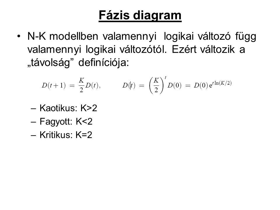 Fázis diagram N-K modellben valamennyi logikai változó függ valamennyi logikai változótól.