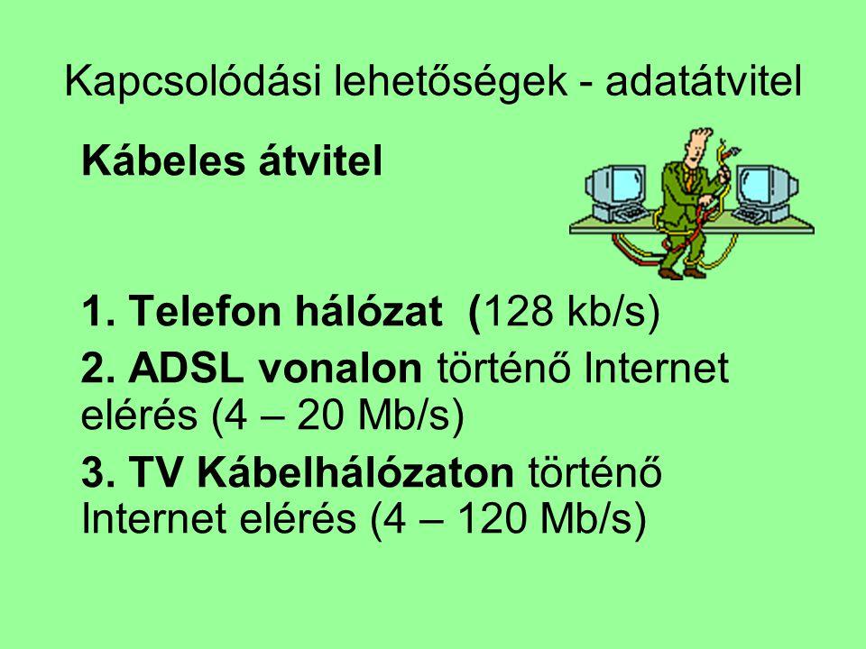 Kapcsolódási lehetőségek - adatátvitel Kábeles átvitel 1. Telefon hálózat (128 kb/s) 2. ADSL vonalon történő Internet elérés (4 – 20 Mb/s) 3. TV Kábel
