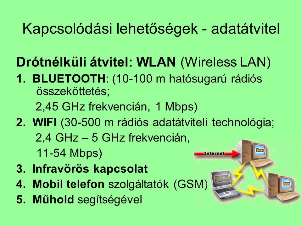 Kapcsolódási lehetőségek - adatátvitel Drótnélküli átvitel: WLAN (Wireless LAN) 1. BLUETOOTH: (10-100 m hatósugarú rádiós összeköttetés; 2,45 GHz frek