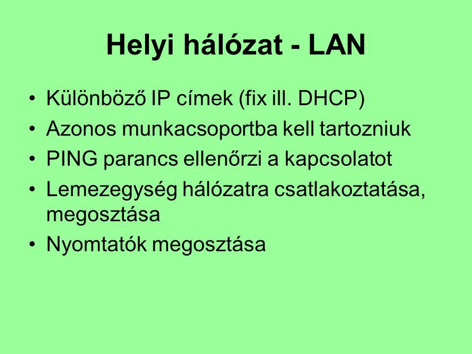 Helyi hálózat - LAN Különböző IP címek (fix ill. DHCP) Azonos munkacsoportba kell tartozniuk PING parancs ellenőrzi a kapcsolatot Lemezegység hálózatr