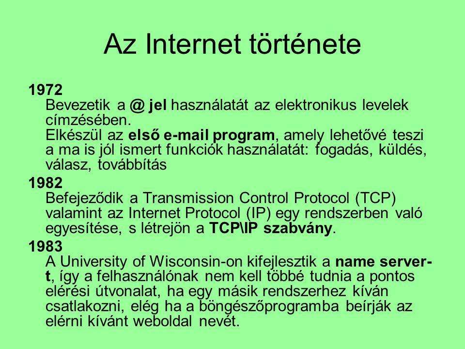 Az Internet története 1972 Bevezetik a @ jel használatát az elektronikus levelek címzésében. Elkészül az első e-mail program, amely lehetővé teszi a m