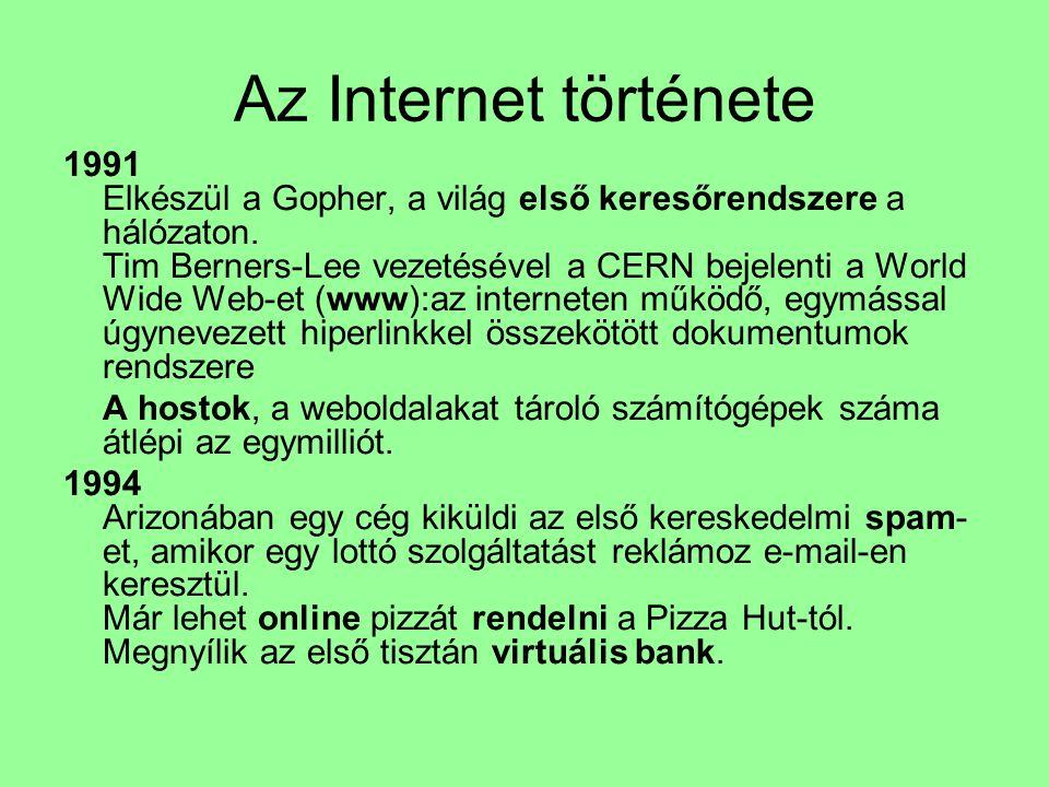 Az Internet története 1991 Elkészül a Gopher, a világ első keresőrendszere a hálózaton. Tim Berners-Lee vezetésével a CERN bejelenti a World Wide Web-