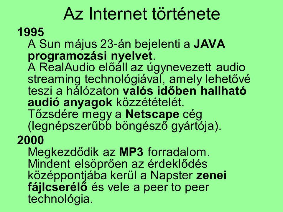 Az Internet története 1995 A Sun május 23-án bejelenti a JAVA programozási nyelvet. A RealAudio előáll az úgynevezett audio streaming technológiával,