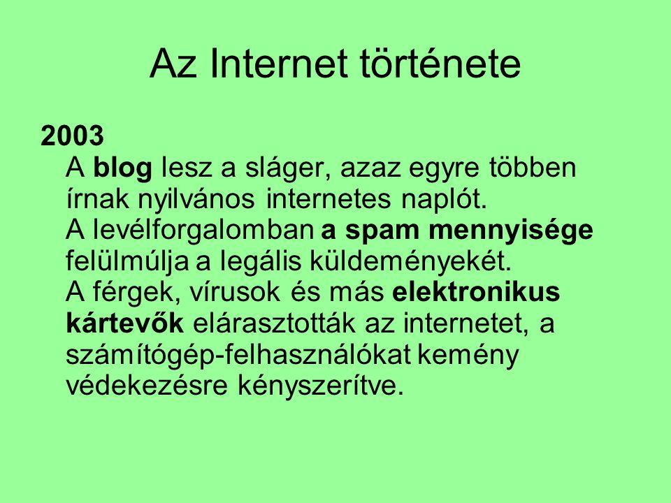 Az Internet története 2003 A blog lesz a sláger, azaz egyre többen írnak nyilvános internetes naplót. A levélforgalomban a spam mennyisége felülmúlja