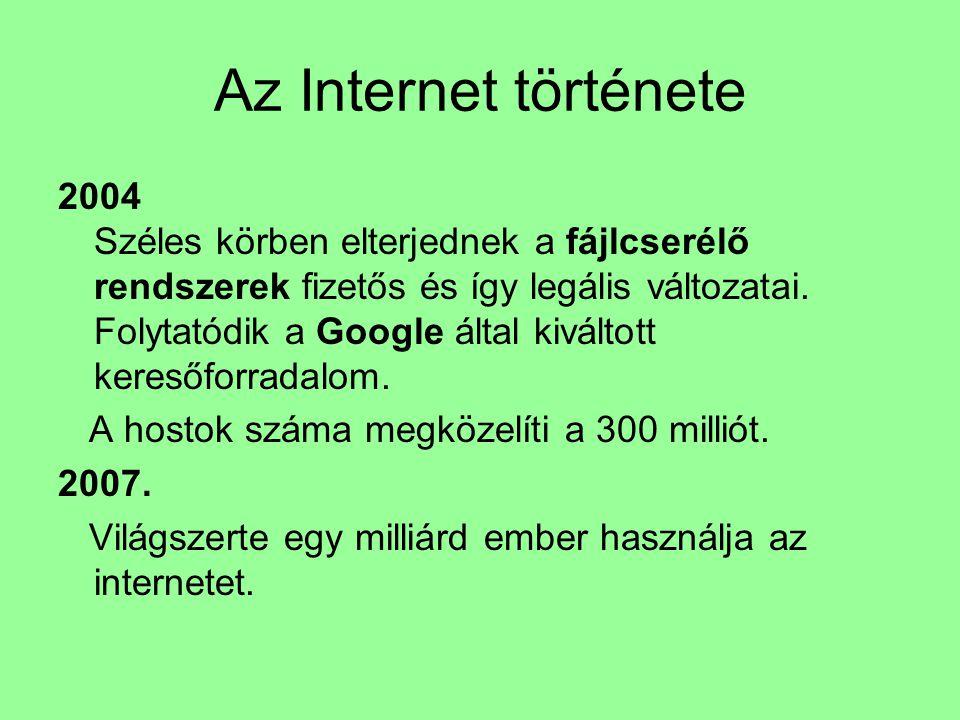 Az Internet története 2004 Széles körben elterjednek a fájlcserélő rendszerek fizetős és így legális változatai. Folytatódik a Google által kiváltott