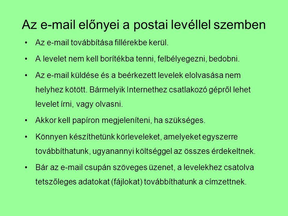 Az e-mail előnyei a postai levéllel szemben Az e-mail továbbítása fillérekbe kerül. A levelet nem kell borítékba tenni, felbélyegezni, bedobni. Az e-m