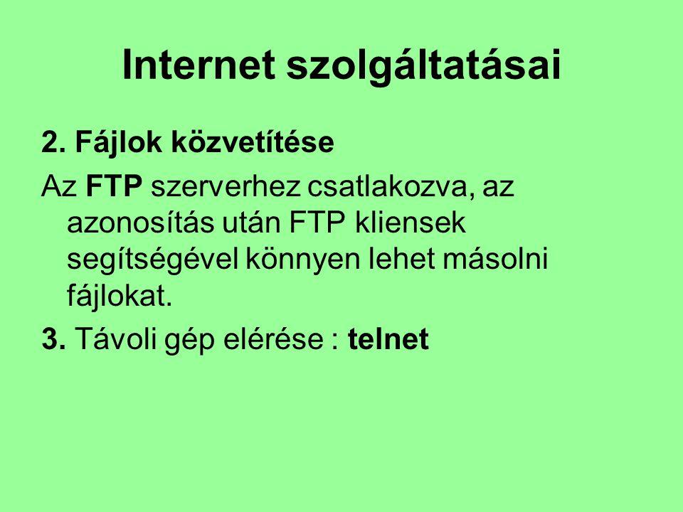 Internet szolgáltatásai 2. Fájlok közvetítése Az FTP szerverhez csatlakozva, az azonosítás után FTP kliensek segítségével könnyen lehet másolni fájlok