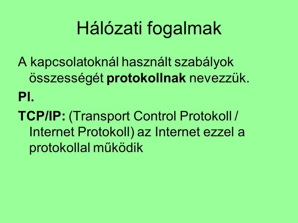 Hálózati fogalmak A kapcsolatoknál használt szabályok összességét protokollnak nevezzük. Pl. TCP/IP: (Transport Control Protokoll / Internet Protokoll