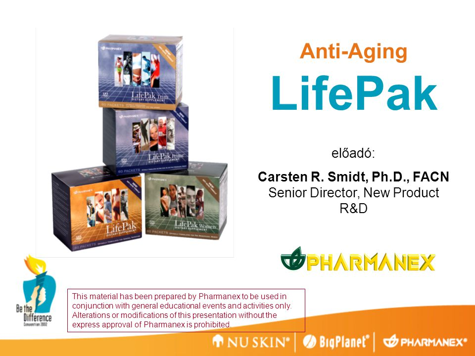 Anti-Aging LifePak előadó: Carsten R.